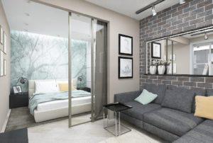 зонирование гостиная и спальня