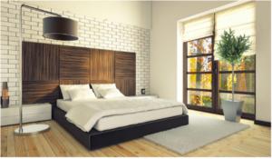 древесный декор в спальне
